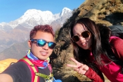 <h5>Chandra and Angie during Mardi Himal Trek</h5><p>We took selfie on our way to Mardi Himal High Camp</p>