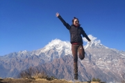<h5>On my way to High Camp</h5><p>Posing by Jumping on this clear nice weather and himalayas as backdrop. </p>