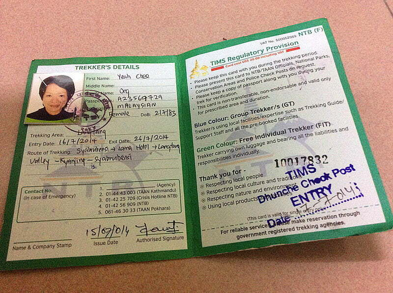 TIMS and Trekking Permit in Nepal
