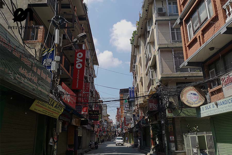 China town- Jyatha- Thamel in Kathmandu during lockcown 2020