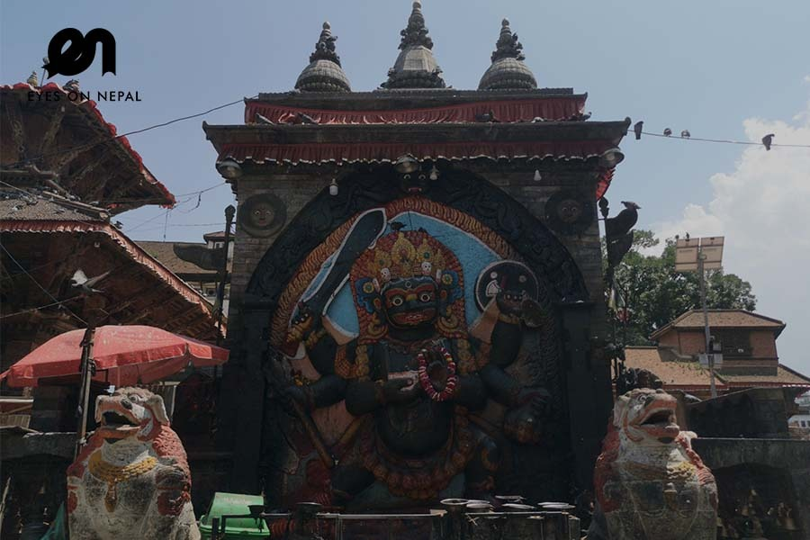 Kal Bhairab at Kathmandu durbar square during lockdown 2020
