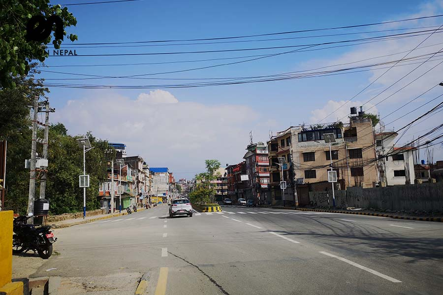 Empty street in Kathmandu during lockdown 2020