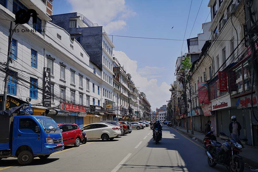 Newroad main market during Nepal lockdown 2020