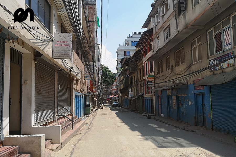 Street in Paknajol near Thamel under Nepal lock down 2020