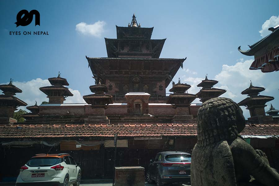 Taleju temple in Kathmandu durbar square without any visitor during nepal lockdown 2020