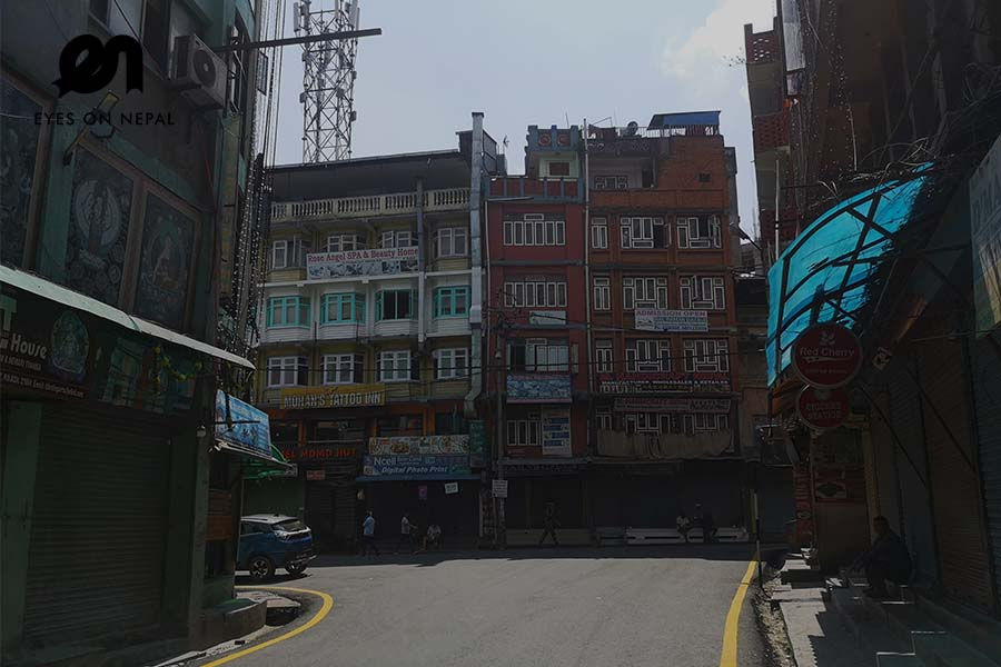Thamel street during nepal lockdown 2020