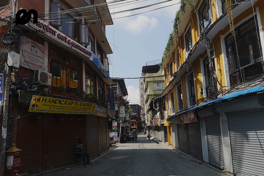 Thamel street during nepal lock down 2020