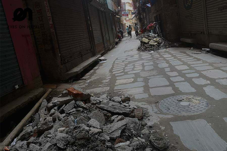 narrow street repairment in Ason Kathmandu during lockdown 2020